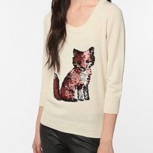 Urban Outfitters Fox Sequin Scoopneck Sweater S